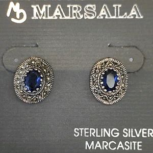 Marsala Marcasite and sterling and blue earrings